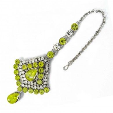 Silver Tone Lemon Yellow CZ Maang Tikka Hair Accessory Ethnic Indian Jewelry