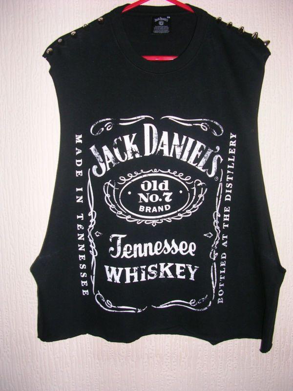 jack daniels tshirt grunge | JACK DANIELS TOP TSHIRT VEST DROP ARMHOLE STUDDED GRUNGE URBAN ...
