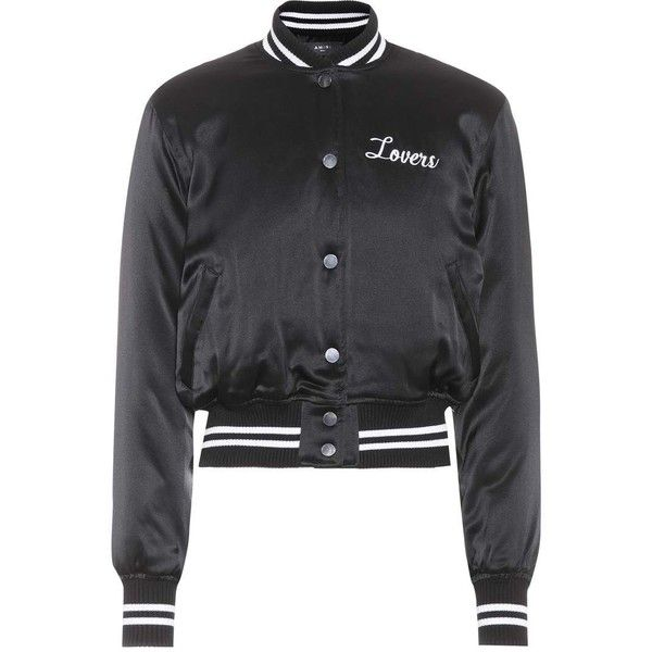 Amiri Silk-Satin Varsity Jacket ($1,255) ❤ liked on Polyvore featuring outerwear, jackets, amiri, varsity-style bomber jacket, varsity bomber jacket, varsity jackets and letterman jacket