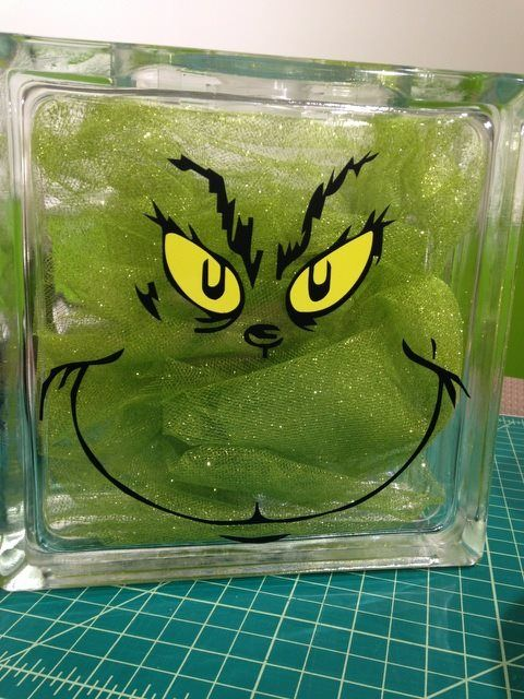 The Grinch Glass Block  www.decalgorilla.com  www.facebook.com/decalgorillacom