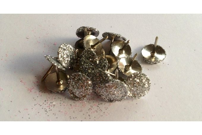 Glitter thumb tacks - silver by Peg & Pencil