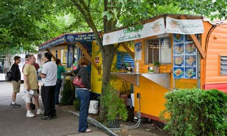 À la cart ... Portland is renowned for its food carts, some selling gourmet dishes at low prices. Photograph: Alamy