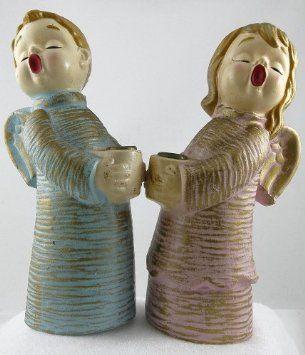 Amazon.com - Vintage Lark Brand Japan Ceramic Pastel Singing Angels Candle Holders - Blue Boy and Pink Girl