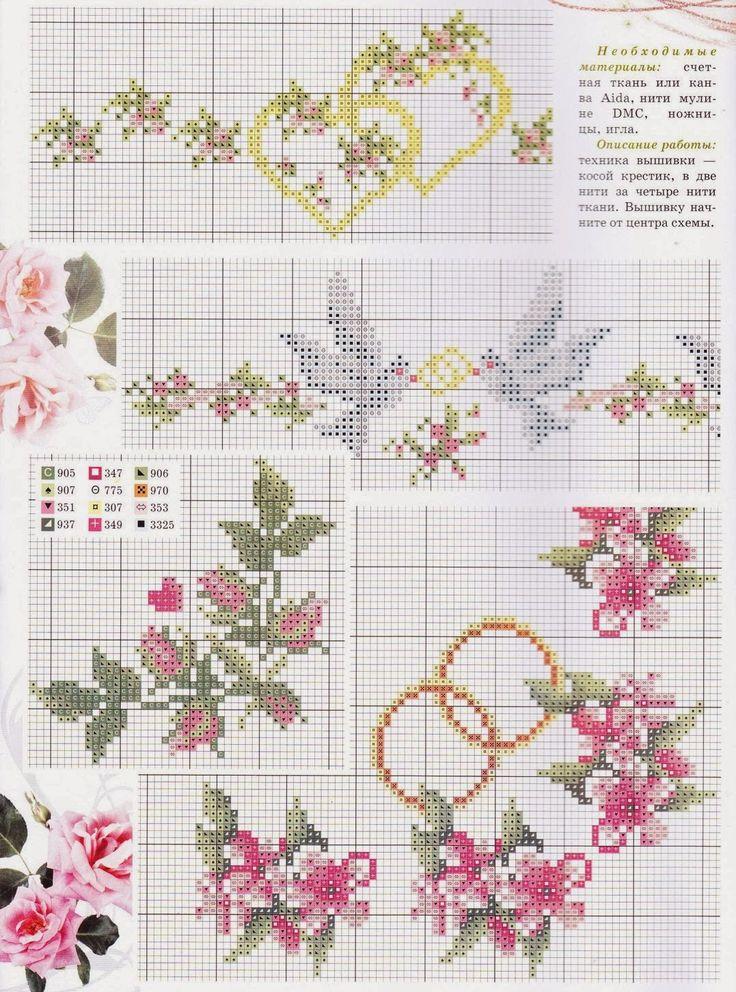 17 mejores ideas sobre bordados para boda en pinterest - Muestras y motivos punto de cruz ...