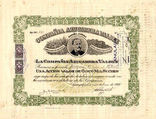 Compania Azucarera Valdez (Ingenio Valdez - Famous Sugar Company)  - Guayaquil, Ecuador 1922 / AZP3ECU002 5000 Sucres 1922