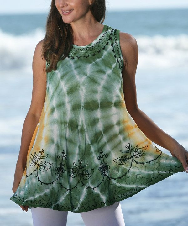 Look at this Ananda's Collection Green & Orange Tie-Dye Sleeveless Tunic - Women on #zulily today!