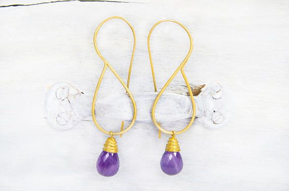 Long Wire Earrings With Amethyst Teardrops Maid Of Honor Gift #OnceUponJewelsCo #luxuriousjewelry #longwireearrings #amethystteardrops #shoulderdusters