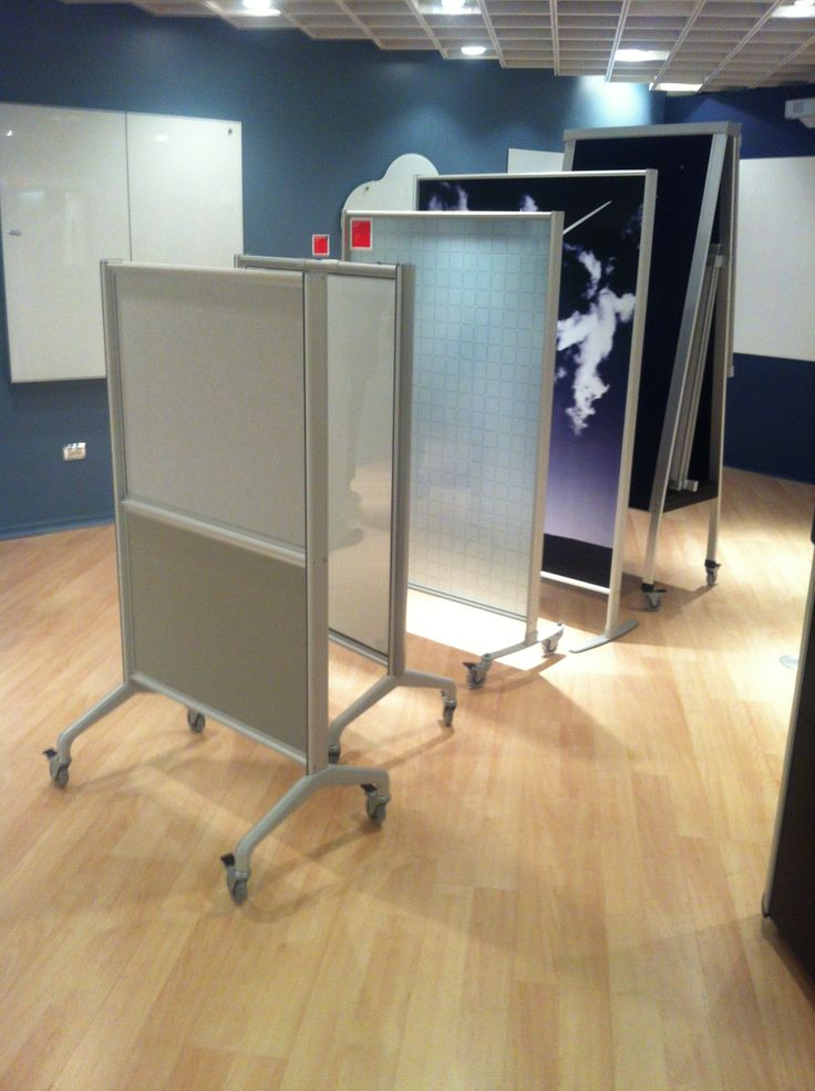 Egan Mobiles: (left to right)  (1) V-Series, split panel, 4-point base (2) V-Series GlassWrite MAG  (3) Egan Lite, frosted glass infill w/EganINK (4) Egan Lite, Decor Panel, Custom EganINK  (5) A-Frame, Fabric/EVS surface combination