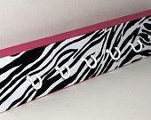Hot Pink Zebra Printed Key Chain Hooks/Necklace Hanger/Necklace Organizer/Key Chain Organizer/Black and White Zebra/Girls Room Decor