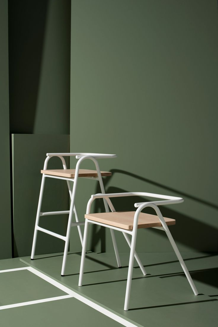 Australian studio Dowel Jones has expanded its Hurdle seat into a full collection, which includes a bench and a stool reminiscent of an umpire's chair.