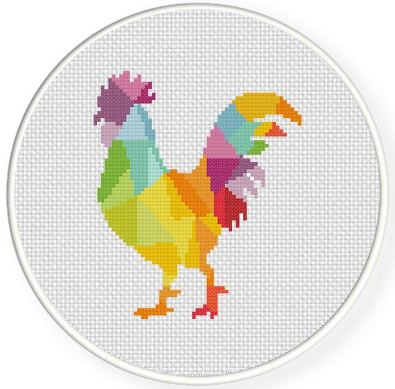 FREE Colorful Rooster Cross Stitch Pattern