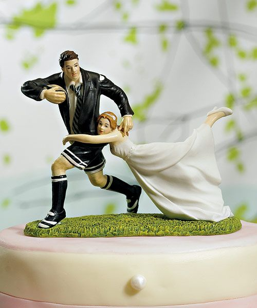 Personalizable A Love Match Rugby Sport Cake Topper
