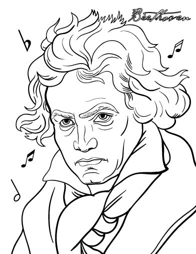 Printable Beethoven coloring page. Free PDF download at http://coloringcafe.com/coloring-pages/beethoven/