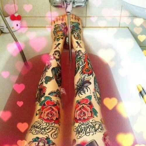 Quote Inked Tattoo Ink Rose Leg Thigh Knee Neko 1337tattoos