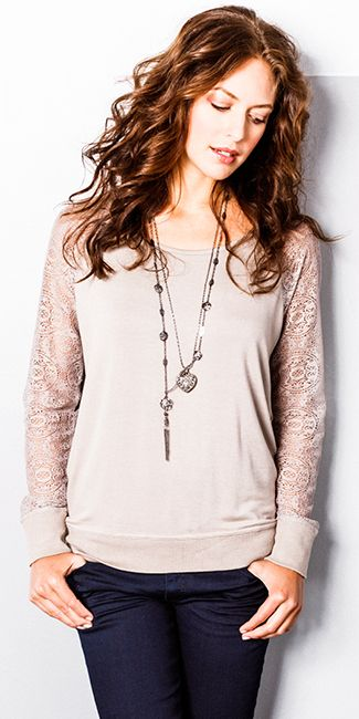 Kismet Felicity lace sleeve popover with clean dark brody jeans @Chris Munroe