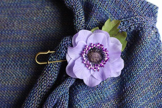 Purple Floral Jewelry Violet Brooch Polymer clay Flower