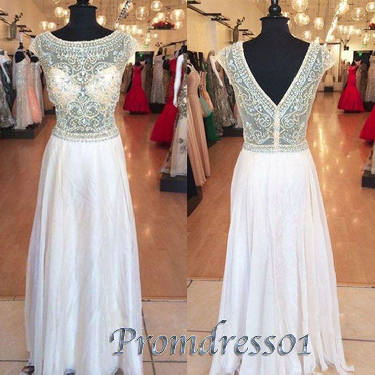 Open back beaded white chiffon long prom dresses
