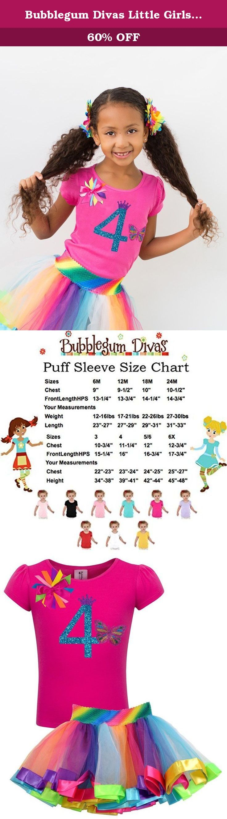Bubblegum Divas Little Girls 4th Birthday Rainbow Princess Butterfly Tutu Outfit 4. Fly away little butterfly. Princess rainbow pettiskirt 4th birthday party short sleeve shirt for your princess who is turning 4yrs old. She will look absolutely adorable with our rainbow fourth birthday set with a glitter number four. This birthday shirt offers a stretchy fabric blend that is comfy for girls to wear. I've added fun colorful rainbow ribbons, a sparkle number 4 princess crown to top off the...