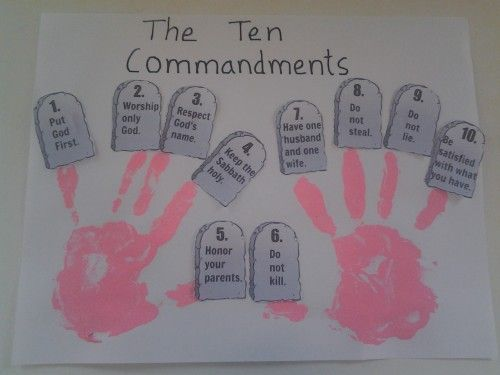Ten commandment hand prints bible activity