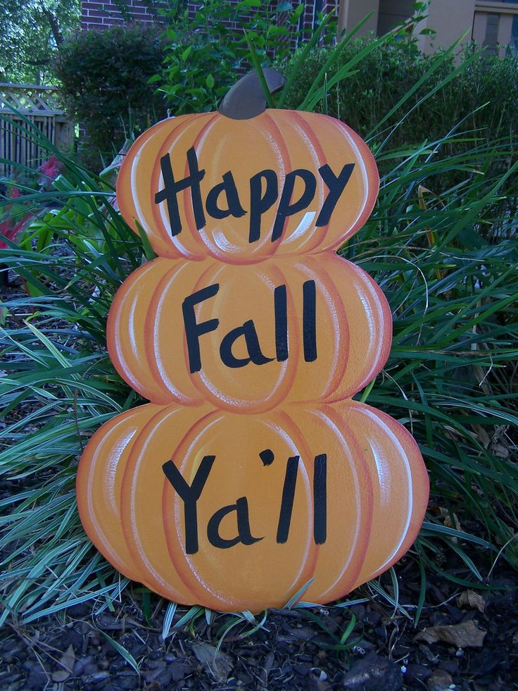 Stacked Pumkins Happy Fall Ya'll Halloween Yard art by Shirleys Treasures. $35.00, via Etsy.