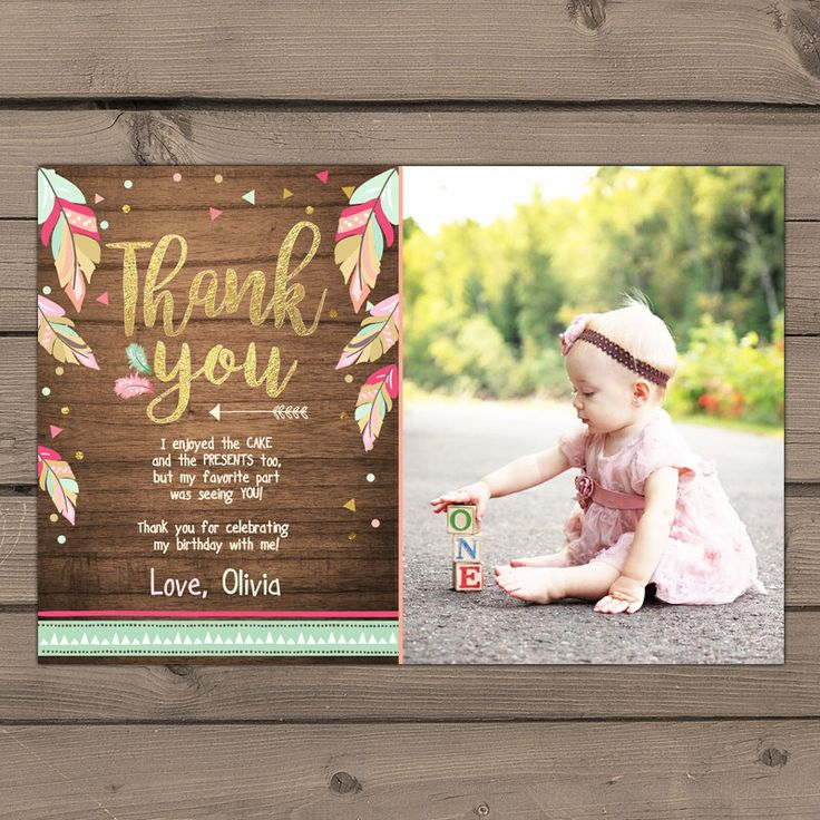 Wild One Thank you card Wild One birthday Party Thank you card Arrow Boho Tribal First birthday Rustic wood Girl Pink Gold Digital PRINTABLE by Anietillustration on Etsy https://www.etsy.com/listing/515095113/wild-one-thank-you-card-wild-one