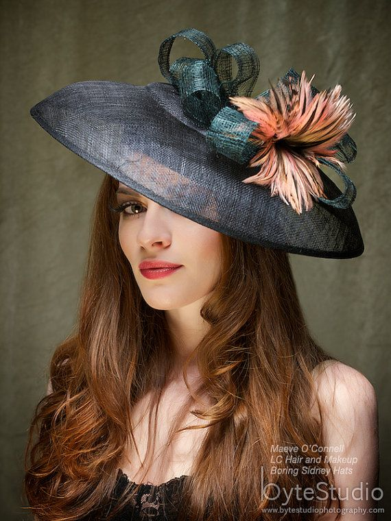 Kentucky Derby Hat Fascinator  - Black Sinamy Headpiece with feathers - Kate on Etsy, $305.00