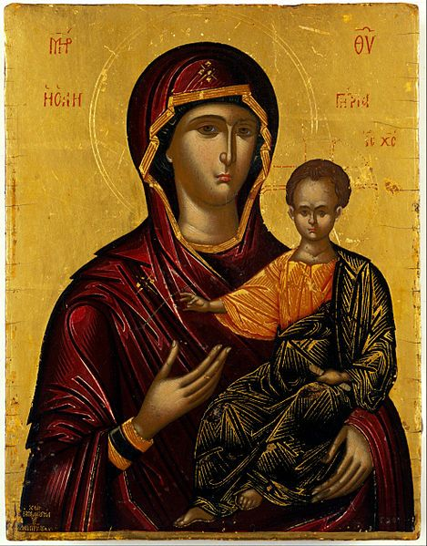 Virgin Hodegetria, late 16th century. The icon bears the forged signature of Emmanuel Lambardos, but was painted in a contemporary Cretan workshop.
