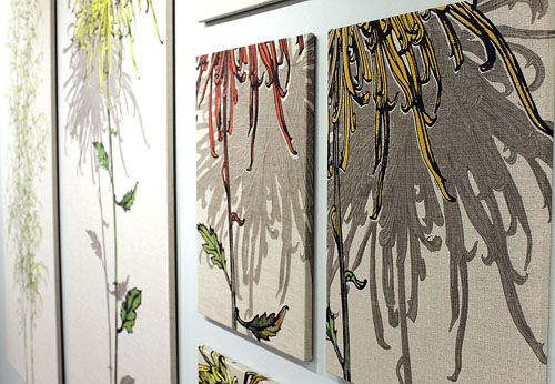 Sam Pickards wall mounted print designs on textiles at Devon Guild. Sam is a #printmaker and #textile pattern designer. #design #textile #print
