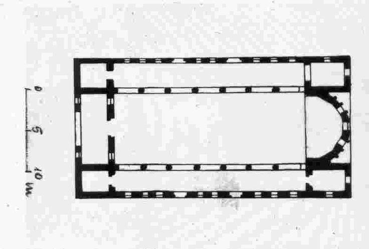 Turmanin - Batı cephesinde geniş bir kemer açıklığı ile nartekse giriş sağlanır. Batı cephesi en hareketli cephedir. Batı cephesi üçgen alınlıklarla nihayet bulur ve üç katlıdır. Narteks yine üç kapalı bölümden oluşmuştur. Üç nefli, çokgen formlu apsise sahip, apsisinin yanlarında pastoforion mekanları bulunan bazilika.