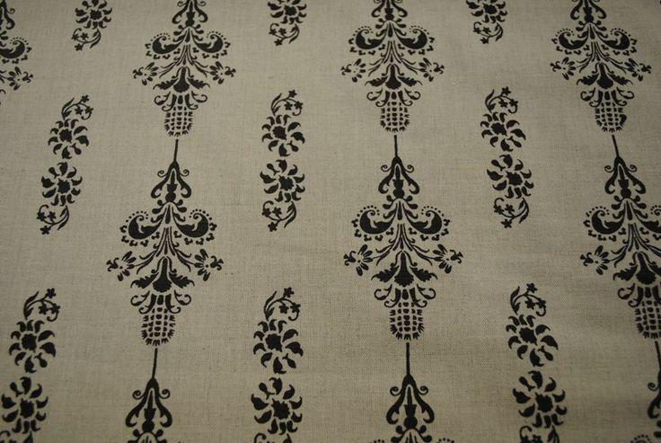 Love Thistle Charcoal on Linen linen/cotton blend 137cm