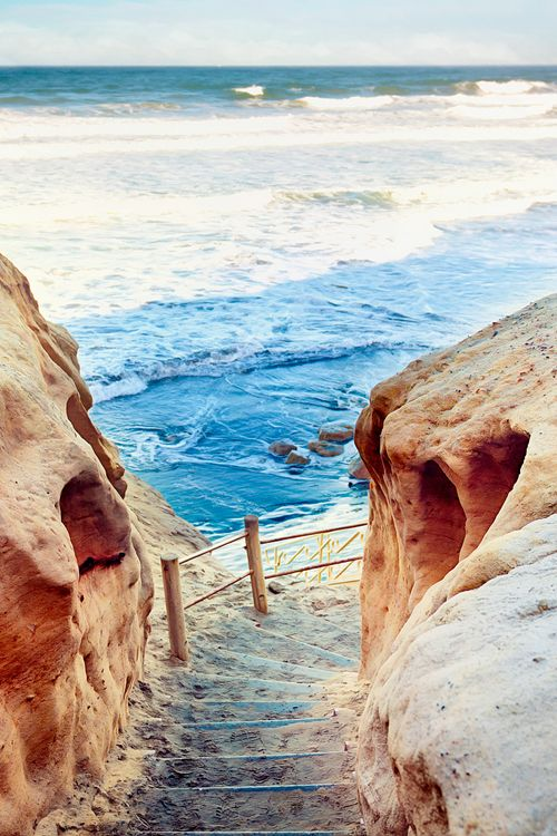 Steps to the Sea, The Torrey Pines State Reserve, La Jolla, CA. Photo:  pixelmama. My favorite beach.