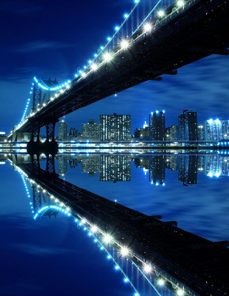 Manhattan Bridge is a toll free bridge. The bridge no longer has a cycle or walking path. However, it connects Manhattan to Brooklyn. New York City, New York.