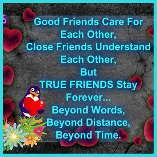 Caring Quotes For Best Friend: Good Friends Care For Each Other, Close Friends Understand