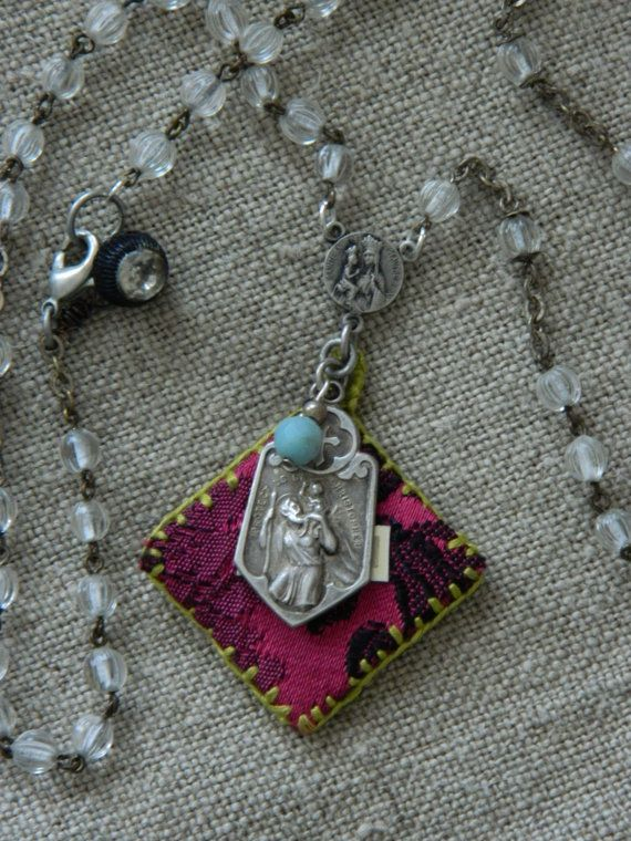 Assemblage Necklace St. Christopher Agnus Dei by 58Diamond on Etsy
