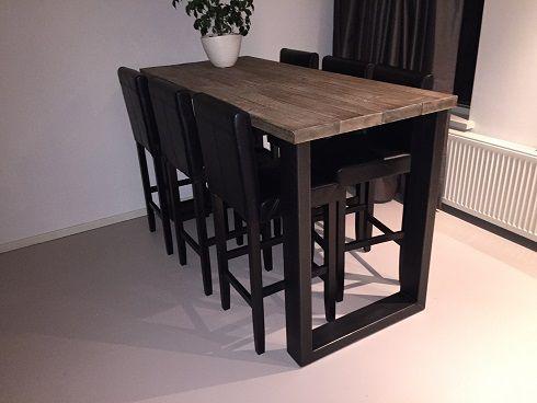 Hoge tafel eefje industrieel 180x80x110 huis inrichten for Hoge eettafels