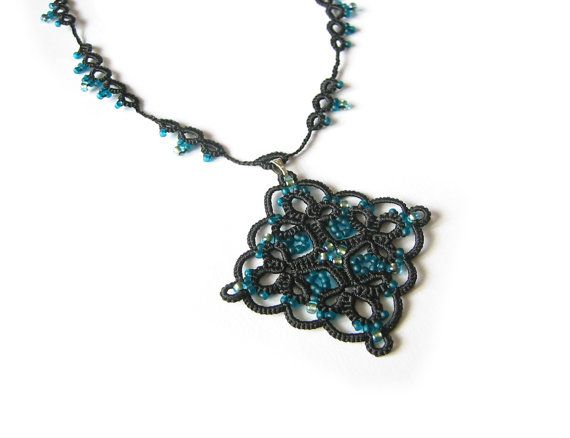Black and Teal Diamond shape necklace  Tatted lace by LandOfLaces