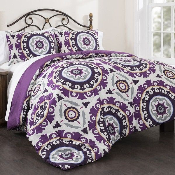 Republic Suzani Royal Lilac 3-piece Comforter Set, Purple ($100) ❤ liked on Polyvore featuring home, bed & bath, bedding, comforters, purple, full/queen comforter set, purple comforter sets, king size pillow shams, purple comforter and purple queen comforter
