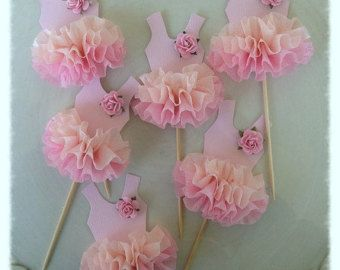 Ballet Tutu Cupcake Toppers Set of Four for Ballerina by JeanKnee