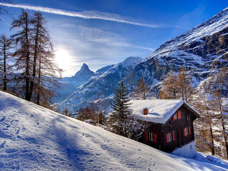 Recherche #chalet de contes de fées #neige #montagne #zermat #suisse #ski #sommet #valais #hiver #vacances