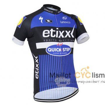 maillot Cyclisme pas cher Cyclisme QUICK STEP 2016 Manche Courte bleu