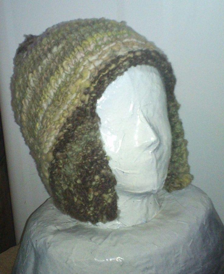 handmade ski hunt hand spun 100% wool beanie hat natural plant dyes hand knit L  #iskapie #AviatorTrapper