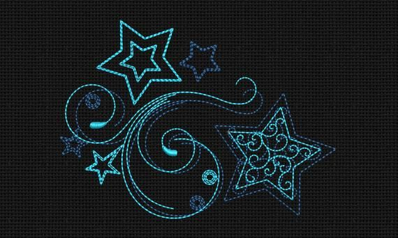 Stars Embroidery Designs 5x7 Instant Download Shootingl Star