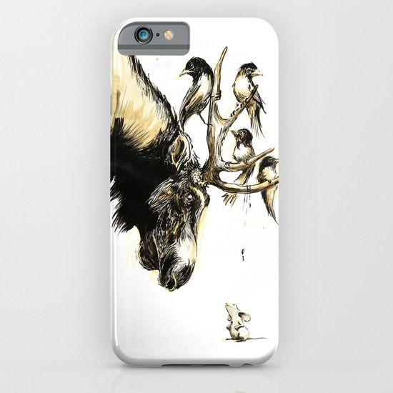 Cellphone case, drawing  graphite  ink/pen  other   illustration  comic  figurative  moose   bird  antlers  mouse  eye-contact   forest  coffee