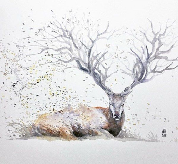 Животные в яркой акварели (23 картинки)