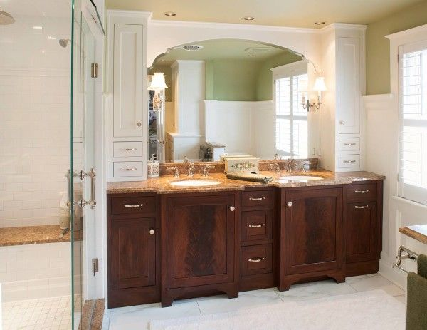 Ideas Fantastic Bathroom Vanities And Using Brown Marble Countertops With Oval Porcelain Undermount Sink Above
