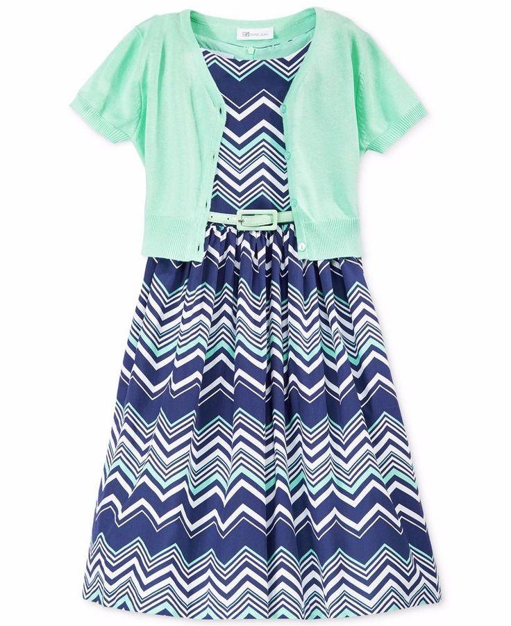 Bonnie Jean Girls Toddler 2T  Mint Chevron Dress & Cardigan Set $62 NWT  #BonnieJean #Dressy
