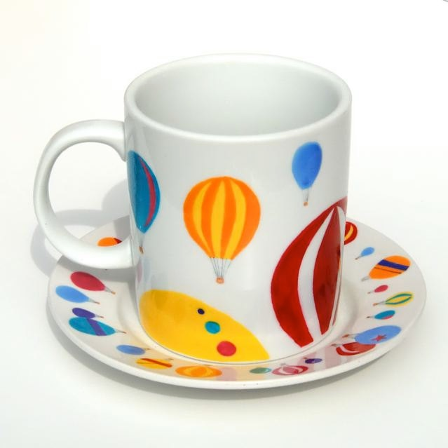 Hot Air Balloon Mug And Plate Set. £23.00, free hand painted by Free Spirit Designs