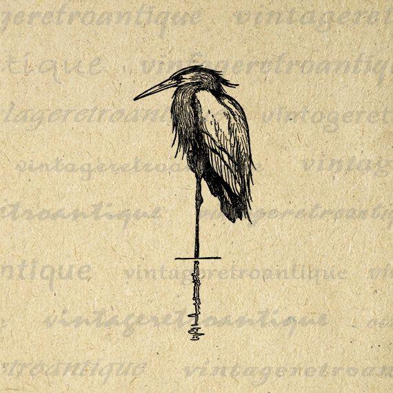 Vintage Heron Bird Digital Image for Transfers, Tote Bags, T-shirts, Paper, Cards, Burlap. High Quality 300dpi No.138. $1.00, via Etsy.