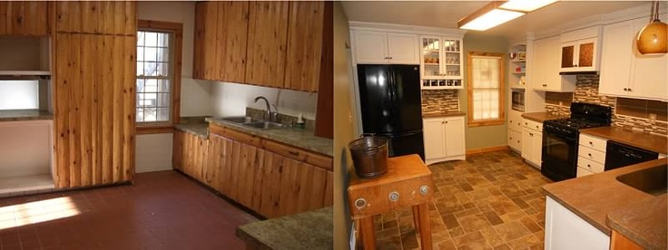 Cabin 39 S Kitchen Was Transformed From A Homemade Log Cabinet Kitchen