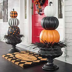 Halloween decorations - front entry door and porch pumpkin topiaries from Grandin Road
